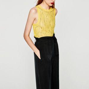 NWT Zara semi sheer mesh embroidered tank